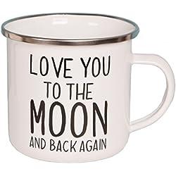 Sass y Belle–Taza esmaltada–Love you to the moon and back Again. Blanco y Negro Taza