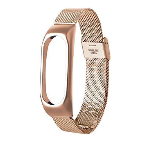 Nueva pulsera ligera de acero inoxidable de moda Correa de reloj inteligente Xinan Para Xiaomi MI Band 2 (Oro rosa)