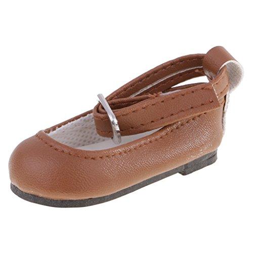 MagiDeal Paar PU-Kunstleder Knöchelriemen Schuhe für 16 Zoll / 40cm Puppen Kleidung Zubehör - Braun (16 Kleidung In Puppe)