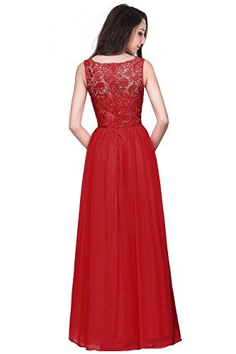 Damen Lang Abendkleider Spitzen Brautjungfernkleider Ballkleider Ärmellos Festkleid Gr.32-46 MisShow Rot