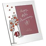 "Diamante Champagne Glasses Ruby 40th Wedding Anniversary Glass Photo Frame 7.5"" x 6.5"" WG45440"