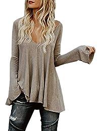 Longshirt Mujer Primavera Otoño Modernas V-Cuello Casual Elegantes Manga Largo Colores Sólidos Camisas Largos
