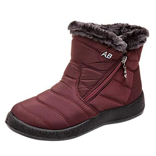 Yowablo Stiefel Damen Schwarz Boots Damen Leder Overknee Stiefel Rot Stiefeletten Damen Braun Overknee Stiefel Weiter Schaft Overknee Stiefel Flach Stiefel Damen Braun (41 EU,1- Wein)