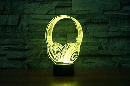 Kopfhörer Hologramm 3d Lampe Nachttischlampe, Nachtlicht fürs Kinderzimmer, LED Lampe fürs Wohnzimmer - 4