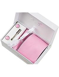 Rayures roses Ensemble Cravate étanche d'homme , Mouchoir, épingle et boutons de manchette coffret cadeau