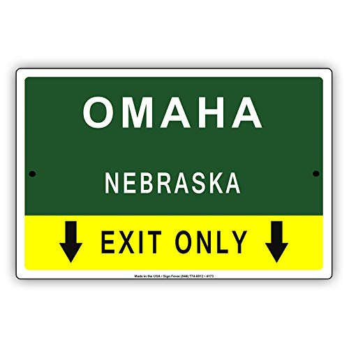 braska Exit Only with Pointer Arrow Direction Way Road Signs Alert Caution Warning Aluminum Metal Tin 12