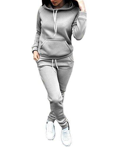 ShallGood Mujeres 2 Piezas Set Deportivos Chándal Tops Hoodie + Pantalones Sudadera con Capucha Manga Larga Deportivos Chaqueta Pantalones Monos Jumpsuit Gris ES 36