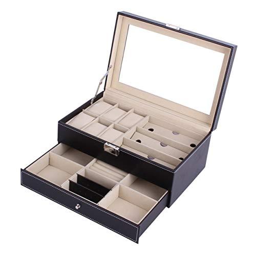 banbie8409 Multifunktionale Doppelschichten aus Holz Schmuck-Uhr-Storage Box Sonnenbrillen Uhr-Anzeigen-Slot-Kasten-Kasten-Behälter - Holz-uhr-schmuck-box