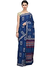 The Weave Traveller Handloom Hand Block Printed Women'S Cotton Saree (Indigo)