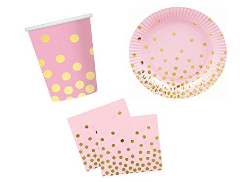 rr rosa/Gold 36 teilig bis 12 Personen Teller Becher Servietten Geburtstagsset Grillparty Party Komplettset ()