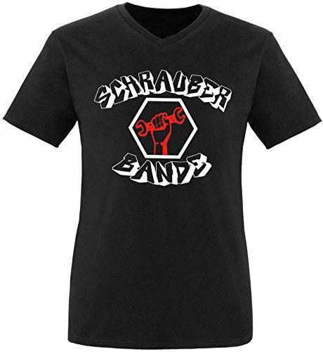 EZYshirt® Schrauber Bande Herren V-Neck T-Shirt Schwarz/Weiss/Rot