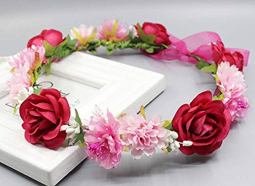Fang-denghui, Frauen Sommer Hochzeit Floral Krone Kopf Band Für Mädchen Floral Kopf Kranz Frauen Blume Stirnband Brautjungfer Braut Kopfschmuck Blume Krone (Color