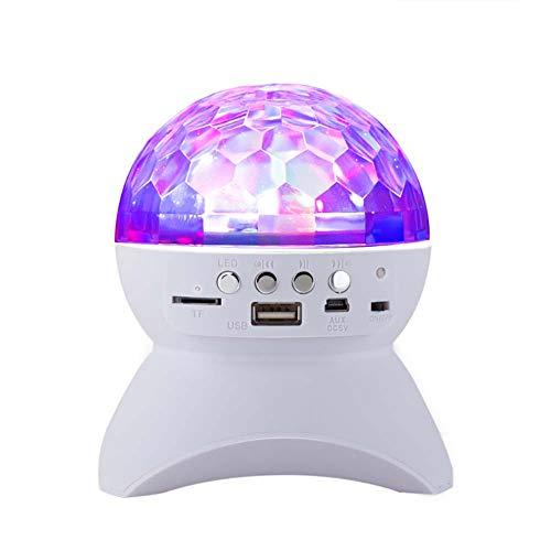 Dj Bluetooth-Lautsprecher Mini Musikbox Rotierendes Licht LED-Blitzlampe 4 Lichtmodi, Drahtloser Bluetooth-Lautsprecher FüR Party Tanzen, Ball, Geburtstag (Weiß/Schwarz/Rot)