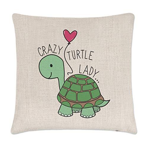 Gift Base Verrückte Schildkröte Damen Leinen Kissenbezug