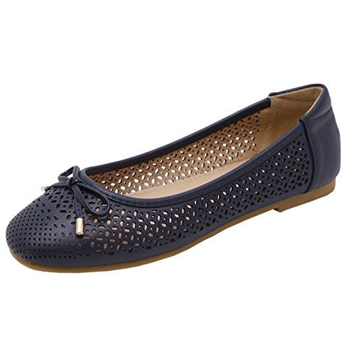 Oasap Women's Comfortable square Toe Low Cut Bow Flats Black