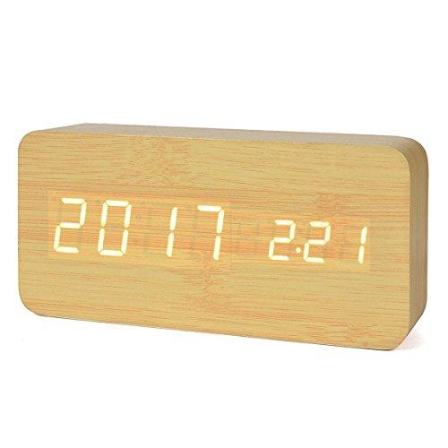 Reloj Digital Despertador de Madera con Control de Sonido y LED Brillo de la Pantalla,Operación de carga,color amarillo