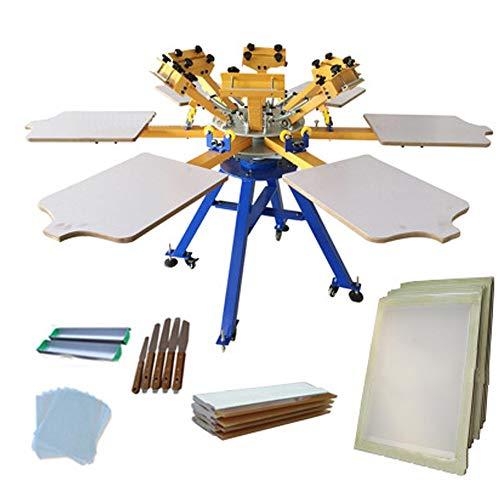 Fayelong Siebdruckmaschine Siebdruckpresse Siebdruck für Kleidung Regenschirme DIY Drucken abnehmbare Palette (6 Farben 6 Station) -