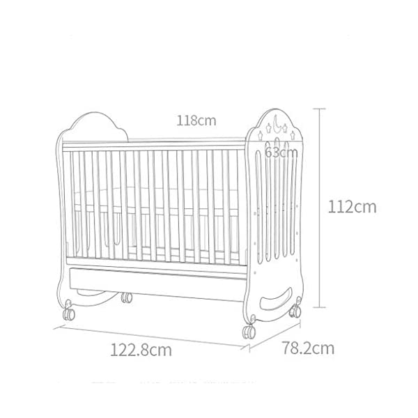 DUWEN-Cot bed Solid Wood Baby Cot European Multifunctional Toddler Bed Game Bed Children's Bed DUWEN-Cot bed 1. This perfect multi-functional crib is made of environmentally friendly pine wood. It is tough and durable, not easy to crack and deform. The load is up to 120KG. It is green and non-toxic paint. It is healthy and environmentally friendly. It is harmless to the baby. Mother can buy with confidence. 2. The three pedestal positions of the crib are suitable for the baby's growth stage, improving visibility and ventilation in all directions, selecting the gear according to the baby's body and age, making the space bigger and more comfortable to use. 3. Multi-functional crib can be easily converted into a game bed, children's sofa, desk, designed for healthy sleep of 0-6 years old baby (additional function can be used up to 6 years old), 55mm safety standard guardrail spacing, children's hands and feet will not be Stuck 2