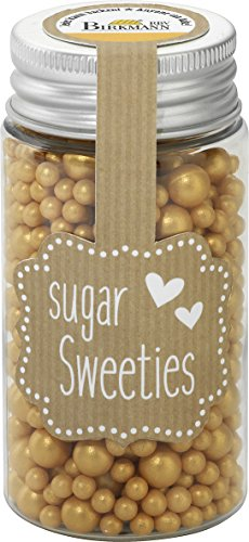 Birkmann Zucker-Dekor Zuckerperlen-Mix, Zuckerdekor, Zucker Perlen, Backdekoration, Gold, 75 g, 504806