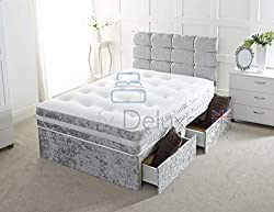 Crushed Velvet Divan Bed with | Mattress | HEADBOARD | Storage Drawers (4FT 2 Drawers, Silver Crush)