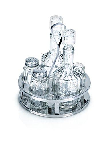 Menage 5teilig Salzstreuer Pfefferstreuer Essigflasche Ölflasche Höhe 170 mm