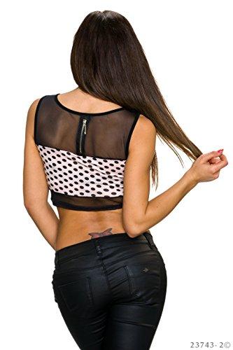 Damen ärmelloses bauchfreies Träger Crop Top Shirt Bustier mit Netzspitze und Dots Punkte Schwarz/Rosa