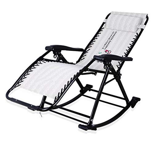 Bains de soleil Fauteuil inclinable à bascule inclinable Pont Lounge Chair Portable Adulte Jardin Plage Balcon Chambre Bureau Capacité de charge 200 kg Gris