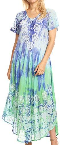 Sakkas 18604 - Sofia Frauen Flowy Sommer Maxi Strandkleid Tie-Dye w/Batik & Kurzen Ärmeln - Royal Blue/Turquoise - OS (Kleidung Baum Royals)