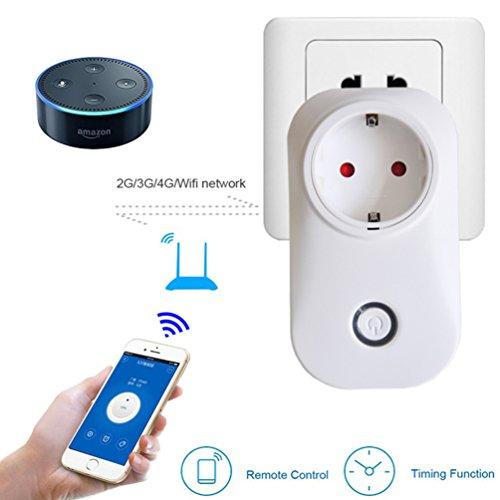 Preisvergleich Produktbild Intelligente Steckdose WLAN Steckdose Smart Buchse mit Fernsteuerung inkl Zeitsteuerung Energiesparfunktion und USB Anschluss über Android/iOS-App Weiß EUR funktioniert mit Amazon Alexa