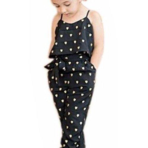 Kind-Mädchen-Liebes-Herz-Straps Strampler Jumpsuits Teiler Hose Kleidung (2T, Schwarz) (2t Größe Alter)