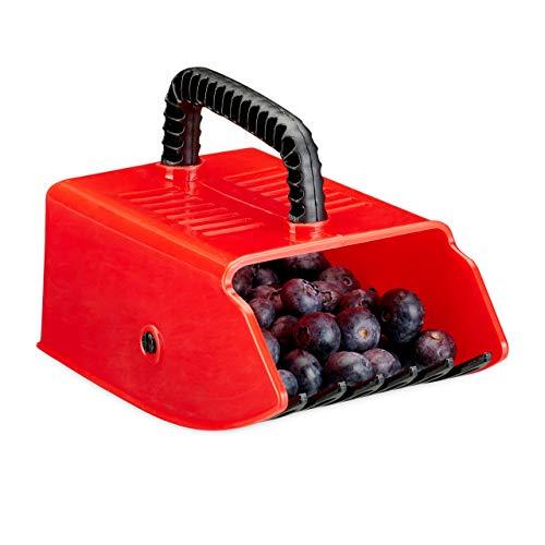 Relaxdays - Attrezzo per Raccogliere Frutti di Bosco, in plastica, per Frutti di Bosco e Mirtillo, Colore: Rosso/Nero