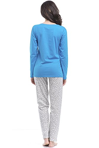 Dobranocka PM.8039 Joli Charmant Pyjama Manches Longues Pantalon Long – Fabriqué En UE bleu-gris