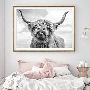 EBONP Wand dekorative Leinwand Malerei Nordic Dekoration Highland Kuh vieh wandkunst leinwand Poster und Druck Tier…