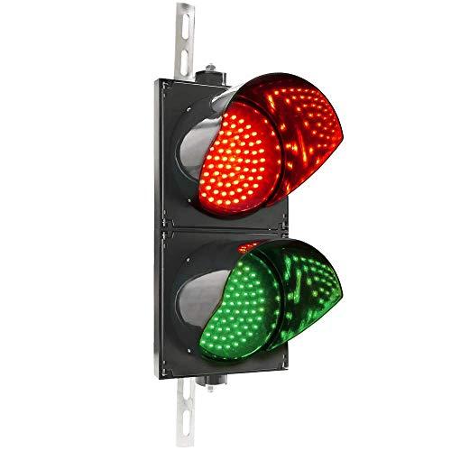 PrimeMatik - Ampel für Innen- und Außenbereich IP65 schwarz 2 x 200mm 220V mit grün und rot LED leuchtet