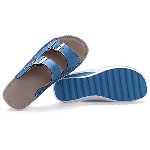 Vertvie Femme Fille Pantoufle Été Plateforme Cuir PU Chaussures de Plage avec Boucle Antidérapant Bleu
