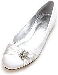 390c4b68420f MarHermoso Women s Satin Ballet Pumps Comfortable Wedding Bridal Shoes