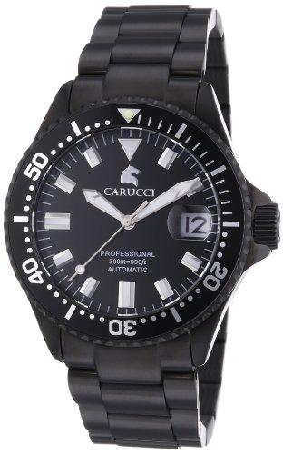 Carucci Watches  Brindisi - Reloj de automático para mujer, con correa de acero inoxidable chapado, color negro