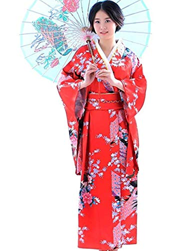 Botanmu Frauen Kimono Robe Japanische Kleid Fotografie Cosplay Kostüm 5 Farben (Rot) (Japanische Kostüm Für Erwachsene)