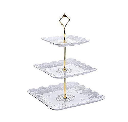 Etagere aus Knochenporzellan, für Kuchen, Cupcakes, Käse und Desserts, Weihnachten, Party oder als Geschenk, Knochenporzellan, weiß, 3 tiers plates with gold stand Etagere Gold Plate