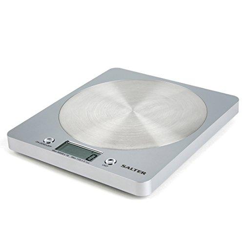 Salter - Báscula de Cocina Electrónica de Plataforma con Diseño Delgado - Color Plateado - 1036 - Plateado, Plástico