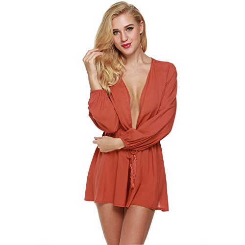 CRAVOG Jumpsuit Damen Overall sexy Sommer Minikleid Playsuit Rot