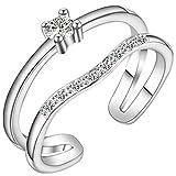 Boowohl Damen-Ring Partnerringe Hochzeitringe Doppelring Ehering aus 925 Sterling Silber Zirkonia Ringe Verstellbar Ring