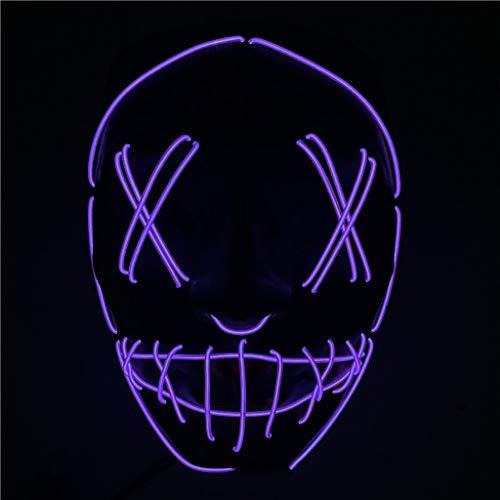 Beängstigend Maske Hockey Kostüm - LED leuchten Maske, LED Ghost Horror Thriller beängstigend Fluoreszierende Halloween-Maske für Festival Cosplay Halloween-Kostüm,Lila