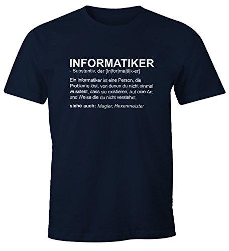 MoonWorks Herren T-Shirt Informatiker Definition Fun-Shirt Navy L