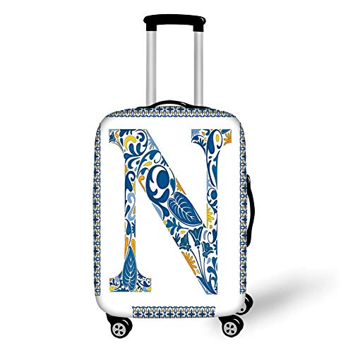 Travel Luggage Cover Suitcase Protector,Letter N,Floral Design in Vintage Alphabet Font Design N in Azulejo Inspired Frame Decorative,Blue Yellow Orange,for TravelL 25.9x37.8Inch