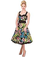 De flores Vintage prohibido la ropa en Reino Unido con Everlong e instrucciones para hacer vestidos Rockabilly Tropical 8-22