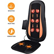 Shiatsu Back Massager Massage Chair with Heat - Electric Massage Cushion with 3D Deep Tissue Kneading and Vibration for Full Back Pain Relief - Home, Office & Car Use