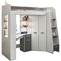 Preisvergleich für Hochbett/Etagenbett mit Treppe rechts oder links, alles-in-einem-Möbel-Set für Kinder mit Bett, Kleiderschrank, Regal und Schreibtisch Craft-white/Graphite - Right Hand-side Stairs.