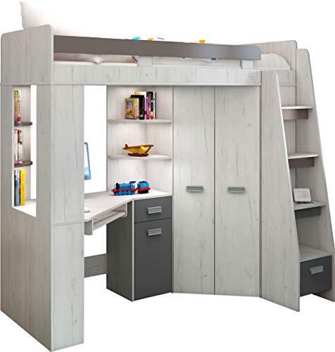 Hochbett/Etagenbett mit Treppe rechts oder links, alles-in-einem-Möbel-Set für Kinder mit Bett, Kleiderschrank, Regal und Schreibtisch Craft-white/Graphite - Right Hand-side Stairs.