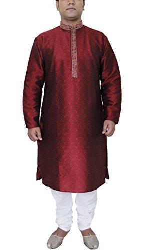 Männer Kleidung Stickereien Stylisch Kurta Pyjama Set Hochzeit Kleidungen Größe - 112 cm (Seide Set Kurta)